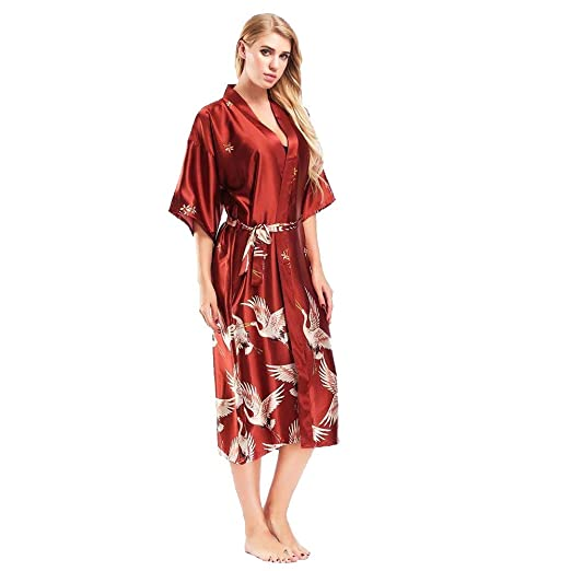 KOERIM Batas de Seda Camisón de Seda Batas de baño de Seda Estilo japonés Kimono Cardigan Ropa de Dormir Batas: Amazon.es: Ropa y accesorios