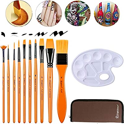 nuoshen Acrylic Paint Brush Set 10 Brushes in Wallet ,Ideal Paint Brush Set Perfect for Beginners Professionals and Artists