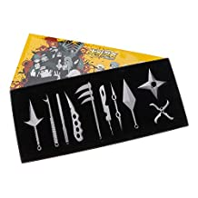 WEKA 10Pcs/set Portable Metal Sword Knife Kunai Kid Japanese Ninja Cosplay Toy