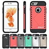iPhone 7 Case, [4.7 Inch] by HLCT, Interior TPU Bumper & Hard Shell Solid PC Back, Shock-Absorption & Skid-Proof, Anti-Scratch Hybrid Dual-Layer Beautiful Slim Cover (Rose Pink)