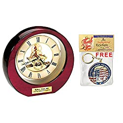 AllGiftFrames Glossy Cherry Wood with Gold Da Vinci Gear Moon Clock and Gold Engraving Plate. Personalized Clock Makes Excellent Wedding Gifts, and Birthday Gifts.