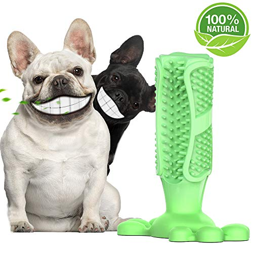 Dog Toothbrush Stick - Safe Non-toxic Dog Pet Chew Toy, Dental Care Dog Chew Toothbrush Natural Rubber Bite Resistant Dog Tooth Brush, Long-lasting Puppy Chew Toys for Dogs Pet Oral Care, Green