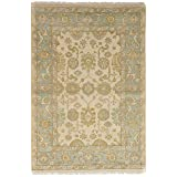 """Ecarpetgallery Hand-knotted Royal Ushak Open Field 3'11"""" x 6'0"""" Ivory 100% Wool area rug"""