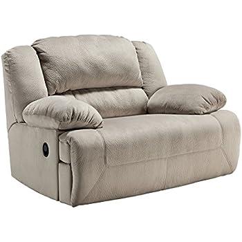 Ashley Furniture Signature Design   Toletta Recliner Chair   Wide Power  Reclining Love Seat   Granite