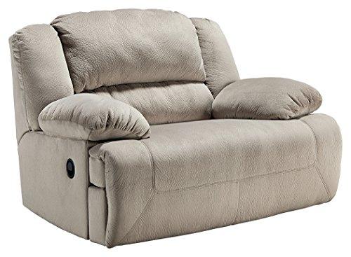 ashley furniture signature design toletta oversized recliner pull tab manual reclining granite