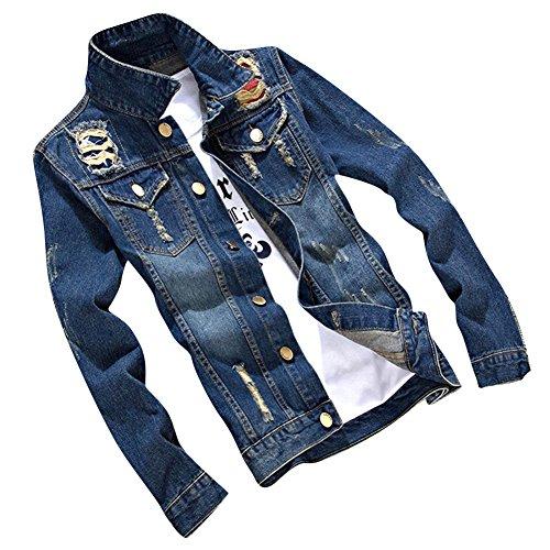 Slim Cappotto Uomo Da Manica Casuale 02 Jacket Giubbotto Giacca Jeans Blu Denim Outwear Marino Lunga rnqYWr4Rx