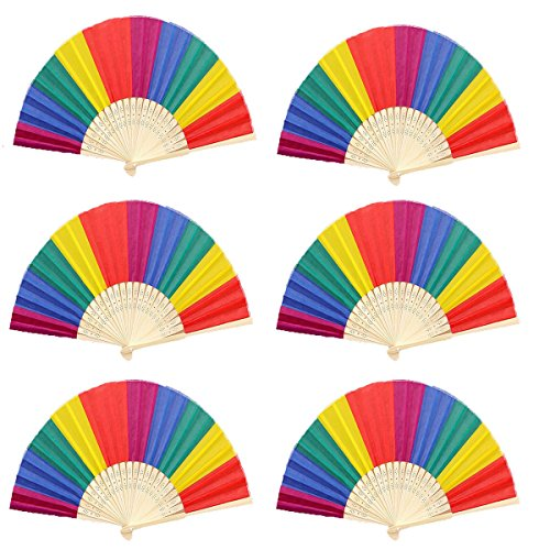 Winture 6 Pack Rainbow Folding Fans, Hand Fans Rainbow Themed-Party Decoration Party Favors