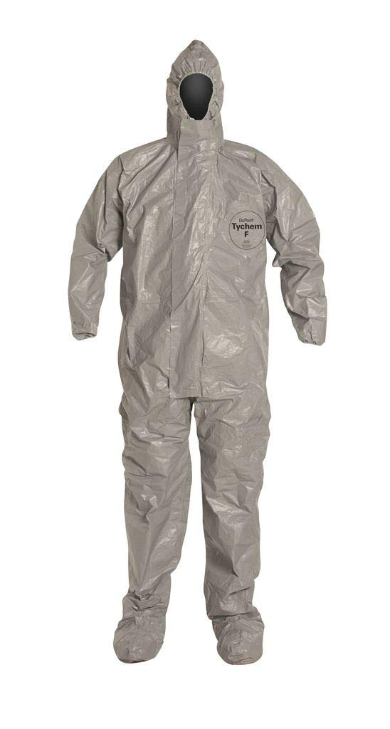 Dupont Tychem F SafeSPEC Coverall TF169TGY with Respirator Fit Hood, Elastic Wrists, Attached Boots, Taped Seam, Storm Flap, Grey [Price is per Each] SIZE 2XL