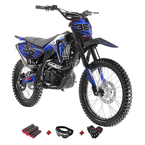 X-Pro 250cc Dirt Bike Pit Bike Gas Dirt Bikes Adult Dirt Pitbike 250cc Gas Dirt Pit Bike with Gloves, Goggle and Handgrip (Blue)