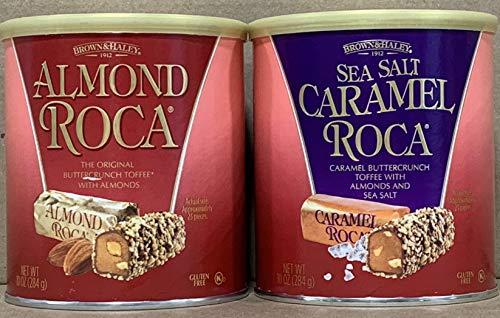 KC Commerce Almond Roca 10oz Canister Variety Pack (Pack of 2) (Original & Sea salt Caramel Roca)
