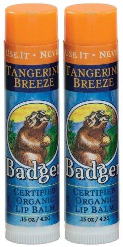 Badger Lip Balm Stick-Tangerine Breeze, 2 pack