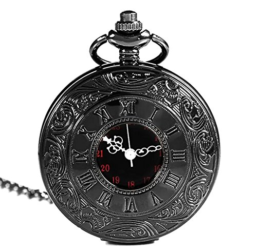 New Brand Mall Classic Vintage Double Display Roman Numerals Design Case for Quartz Pocket Watch With Chain(Black, Pack Gift Box 1) (Roman Numeral Pocket Watch)