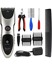 Pet Grooming Clippers-Rechargeable Pet Trimmers Cordless Pro-Cut Grooming Kit for Cats and Dogs in Home by HLYOON