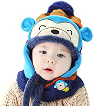 Happy Cherry Girl Boy Knitted Cap Winter Warm Crochet Earflaps Hat+Scarf-Yellow