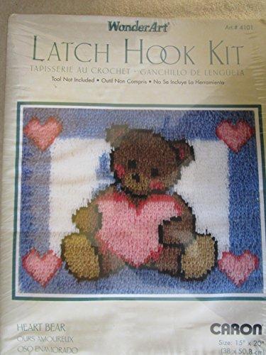 Wonderart Latch Hook Kit 15 x 20 inch - Heart Bear ()