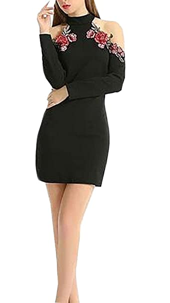 Battercake Mujer Vestido Mujer Fiesta Otoño Fashion Manga Larga Sin Tirantes Bordado Casuales Mujeres Flores Vestidos De Noche Cortos Elegante S Vintage ...