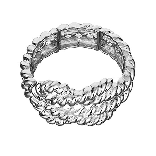 Qiji Alloy Beaded Bone Bracelet Cute Linked Stretch Novelty Costume Jewelry (Silver tone)