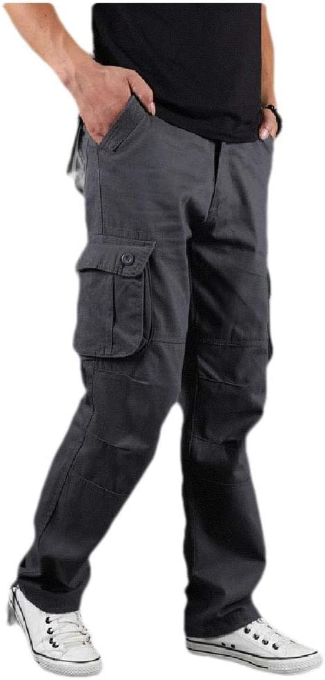 Coolred Men's Long Pants Straight with Side Pockets Flat Front Cargo Pant