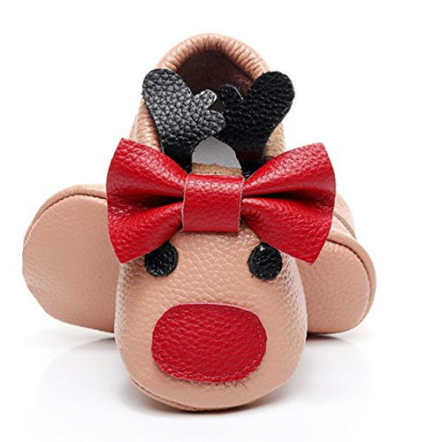 Price comparison product image HONGTEYA Baby Girls Boys Christmas Reindeer Genuine Leather Shoes Soft Sole Bow Infant Crib First Walker Moccasins (6-12 Months/US 6/5.12'' / See Size Chart, Bow-Light Brown)