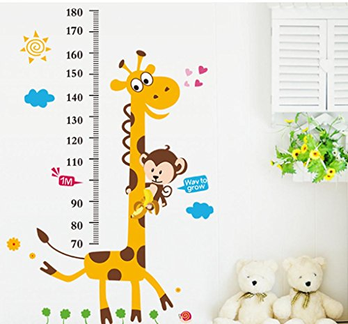 BIBITIME Animal Monkey Giraffe Height Chart Decal for Kids Room Decor Nursery Growth Charts Wall Sticker (Minimum scale : 70 cm)