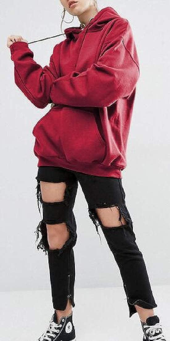 Frieed Womens Long Sleeve Plain Plus Size Loose Pullover Hooded Sweatshirts