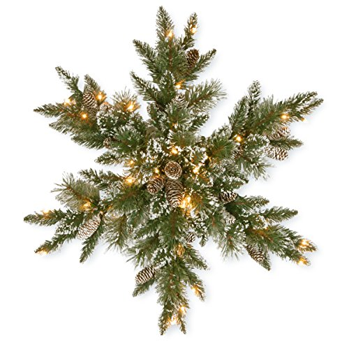National Tree 32 Inch Glittery Bristle Pine Wreath with 21 White Tipped Cones and 50 Warm White Battery Operated LED Lights
