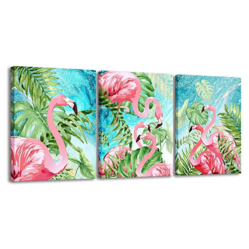- 3 Piece Flamingo Wall Art Boho Decor for Bedroom, Watercolor Animal Picture Palm Green Tropical Plant Canvas Prints Framed Posters Hanging Artwok for Living Room Decoration (Multicolor, 12x16inx3)