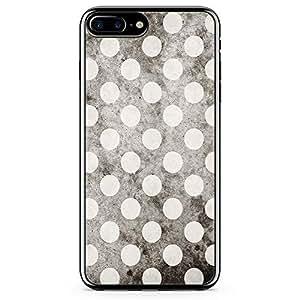 iPhone 7 Plus Transparent Edge Phone Case Polka Dots Phone Case Black White iPhone 7 Plus Cover with Transparent Frame