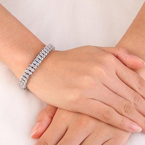 EVER FAITH® Zircon Griffe Ronde 2 Couches Noces Bracelet de Tennis Transparent Ton d'Argent