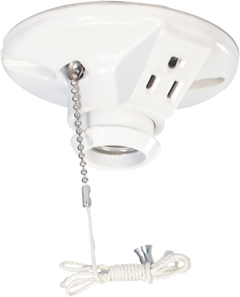 White EATON Wiring S865W-SP-L 660-Watt 250-Volt Two Piece Plastic Ceiling Receptacle Lamp Holder with Pull Chain and Outlet