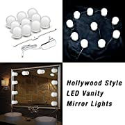 #LightningDeal 83% claimed: Makeup Mirror Lights Hollywood Style LED Vanity Mirror Lights 10 LED Bulbs Kit for Makeup Dressing Table with Touch Dimmer and Power Supply Plug in Lighting Fixture Strip( Mirror Not Included )