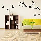 VivReal® Black PVC Branches Birds Door Room Art Mural Wall Sticker Decal