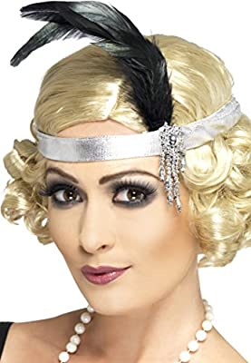 Smiffy's Women's Satin Charleston Headband with Feather and Jewel