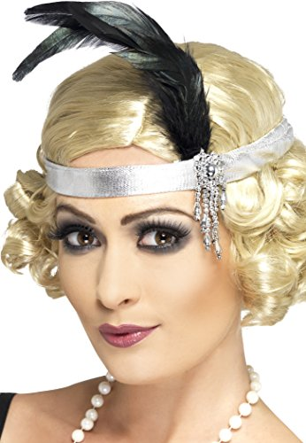 Flapper Costume Uk (Smiffy's Women's Satin Charleston Headband, Silver, One Size, 31716)