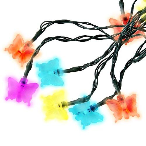 Ghirlanda di Luci Forma Farfalla 20 Pz Ricarica Energia Solare LED Multicolore