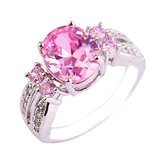 Date Solitaire Ring (Empsoul Women's 925 Sterling Silver Natural Chic Filled Oval Cut Pink Topaz Wedding Bridal Ring)