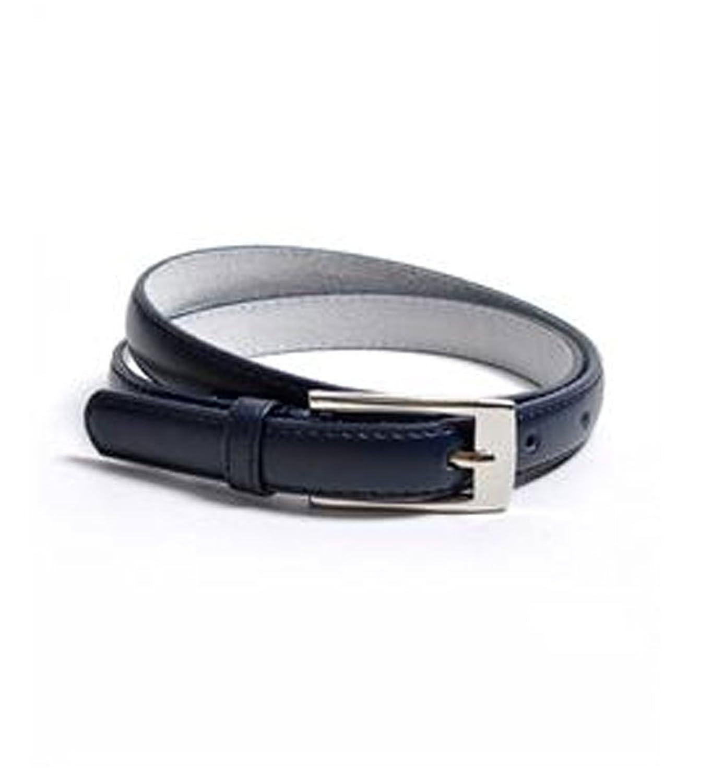Navy Solid Color Leather Skinny Belt Size L - Elegant Leather Skinny Belt In Navy Size L