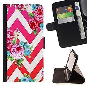 For LG G4 Stylus / G Stylo / LS770 H635 H630D H631 MS631 H635 H540 H630D H542 Case , Rose Rouge Chevron Féminin Blanc - la tarjeta de Crédito Slots PU Funda de cuero Monedero caso cubierta de piel