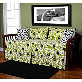 Image of Home and Kitchen 5 Piece Green Black Grey Medallion Daybed Set Bedding, Geometric Modern Full Sized Circle Linked Polka Dot Pattern Day Bed Bedskirt Pillows, Polyester