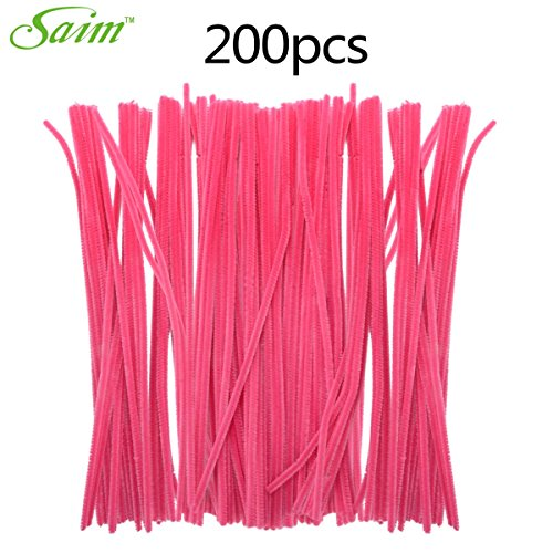 Saim Rose Pink Colored Pipe Cleaners Chenille Stems 12