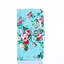 ihpone 6 Case,Hankuke Art Graphic PU Leather Magnet Flip Case with Kickstand and Card Holder for iPhone 6 (4.7-Inch) (green flower)