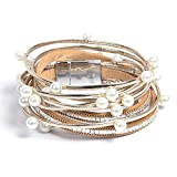 Artilady wrap pearl leather bracelet for women
