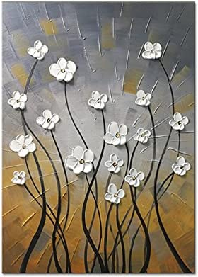 Wieco Art Morning Dancing 100 Hand Painted Floral Oil Paintings Canvas Wall Art Modern Stretched and Framed Grace Abstract Flowers Artwork Ready to Hang for Living Room Home Decorations Wall Decor