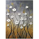 Wieco Art Morning Dancing 100% Hand Painted Floral Oil Paintings Canvas Wall Art Modern Stretched and Framed Grace Abstract Flowers Artwork Ready to Hang for Living Room Home Decorations Wall Decor