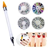 Ownsig Wheel 3D Sparkly Nail Rhinestone Mixed Color Long Flat Back Nail Art Crystal Decoration Rhinestones (4+1 Set)