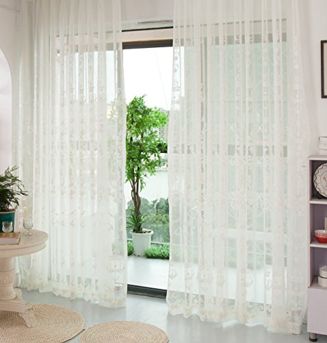 Aside Bside Sheer Curtains Solid Floral Embroidered Luxury Home Decor Drapes Rod Pocket Window Voile Curtain for Living Room & Bedroom(1 Panel, W 100 x L 84 inch, White) ()