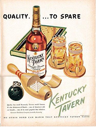 1948 Kentucky Tavern Whiskey-Bowling Ball + Pin -Original 13 * 10.5 Magazine -