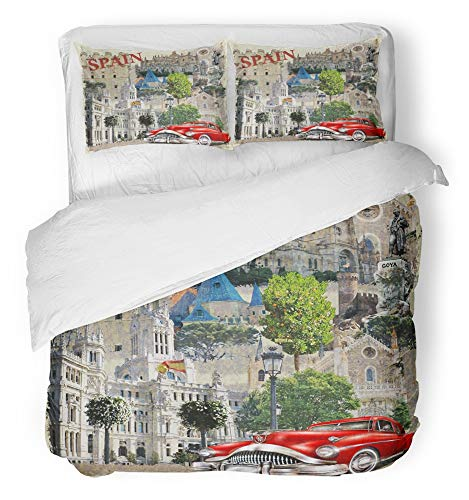 Emvency Bedsure Duvet Cover Set Closure Printed Decorative Collage Spain Vintage Car Travel Retro Spanish Barcelona Europe Country Breathable Bedding Set With 2 Pillow Shams Full/Queen Size by Emvency