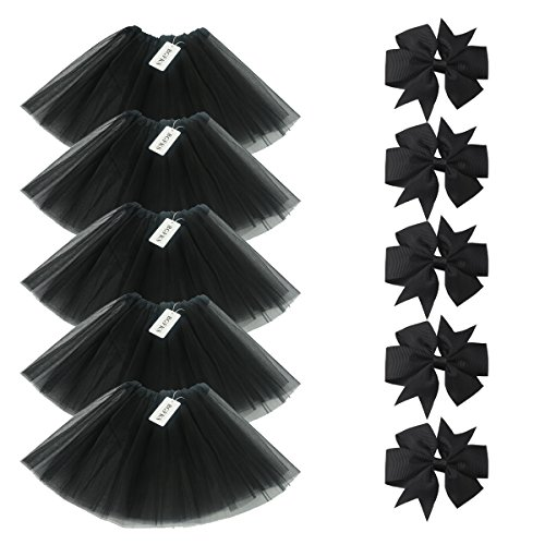 BGFKS 5 Pack Tutu Skirt for Girl Ballet Dance Costume Dress up Princess Party Girl Tutus with Butterfly Headdress 12 Colors Age 2-8(Black)