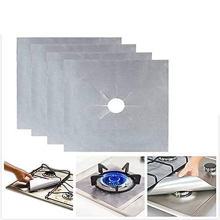 Protectores de Estufa Quemadores Gas Protectores Estufa Protectores - Reutilizable, Antiadherente, Apto para lavavajillas - Almohadilla de Protección ...